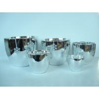 Quality Silver Electroplated Ceramic Flower Pots For Plants Indoor 15.1 X 15.1 X 14.5 Cm for sale