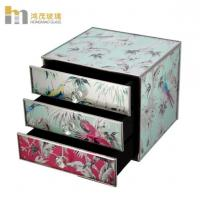 Quality Three Layers Mirrored Glass Jewellery Box / Glass Earring Box Environment Friendly for sale