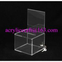 China Lockable clear acrylic ballot box / suggestion box / donation box with sign holder on sale