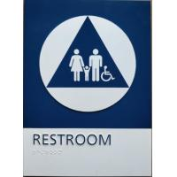 Quality Straight Edge ADA Restroom Signs California Title 24 Unisex Restroom Sign With Blue / White Color for sale