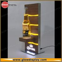 Quality Galvanized Steel Base Zebrano Wood Corona Extra Light Beer Bottle Glorifier LED Back Bar Display for sale