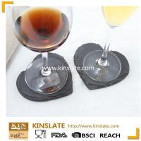 China Durable use special design natural slate stone products black cup coaster on sale