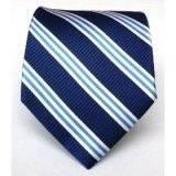 China Silk Woven Navy Striped Tie on sale