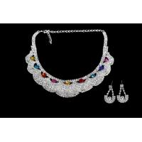 Quality Exquisite Craftsmanship Bridal Necklace Earring Sets with Colorful Crystal NG327-MT for sale