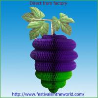 Quality FSC Honeycomb paper decorations, grape decorations for summer party artificial fruit for sale