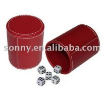 Quality Dice Set with A Leather Cup in Red Color for sale