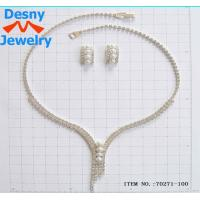 Best American Standard Diamond Crystal Necklace and Earring Set Designs with Silver Plated wholesale