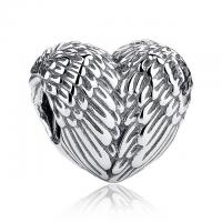 Sculptural 925 Sterling Silver Angelic Feathers Wings Charm Fit Bracelet / Necklace