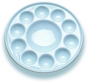 Quality 10 Wells Paint Mixing Palette Art Paint Set , Round Porcelain Watercolour Palette for sale
