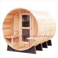 Best 8foot by 8 foot for 4-6 Person Outdoor Red Cedar Barrel Sauna  With Harvia Elecrical sauna heater wholesale
