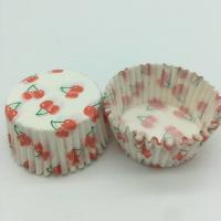 Quality Cherry Pattern Greaseless Cupcake Liners , Muffin Cake Paper Cups For Children Party for sale