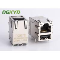 Quality Metal shield stacked USB RJ45 Connector with gigabit ethernet transformer for sale