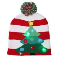 Quality 6- Panel Promotional Products Caps , Mix Design Knitted Flashing LED Christmas Hat for sale