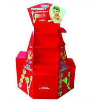 Best Four Sides Red POP Cardboard Displays Stand For Toothbrush Promotion , Glossy Lamination wholesale
