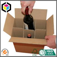 China Wholesale Plain Brown Corrugated Cardboard Wine Packaging Carton Box with Dividers Insert on sale