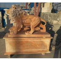 Quality Garden decoration Nature Stone walking lions statue pink marble animal sculpture,stone carving supplier for sale