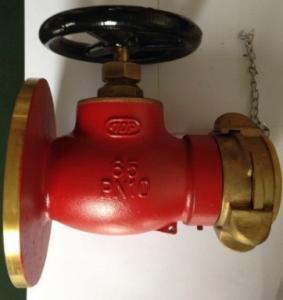 China Water or Foam Mixture Fluid Brass Valve , Angled Pattern Bronze Fire Hydrant Globe Valve on sale
