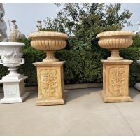 Quality Marble statue planter stone carvings flowerpot sculpture,outdoor stone garden products supplier for sale