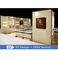China Custom Wooden Glass Jewellery Display Cabinets Cream - Colored For Retail Shop on sale