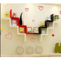 Best W Shape Decorative Wall Shelves Wood Wall Shelves Modern Red,black,white 3D Wall Sticker Korean Wall Shelf wholesale