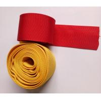 Quality Polyester Nylon Webbing , Red Yellow Woven Webbing For Protective Rubber Hose for sale