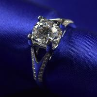 Buy cheap Brilliance Cut Moissanite Diamond Engagement Rings 1ct 6.5mm With 18K White Gold from wholesalers