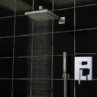 Best Shower Bath Mixer Set Square Ceiling Mounted Rain Shower Heads 140 x 190mm wholesale