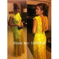 High Collar A-line Long Evening Party Dresses Cap Sleeves With Gold Lace