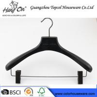 China ashtree wooden clothes hanger with gun black clips on sale