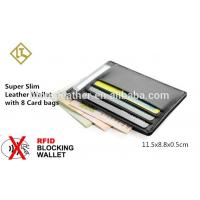 China Free Sample slim 100% Genuine Cowhide Leather Credit Card Holder on sale