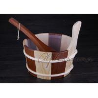 Best Sauna Accessories Wooden Buckets  And Ladles 4 Liter Capacity wholesale