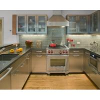 China Integrated U Shape Stainless Steel Kitchen With Grey Countertop And Glass Wall Door on sale