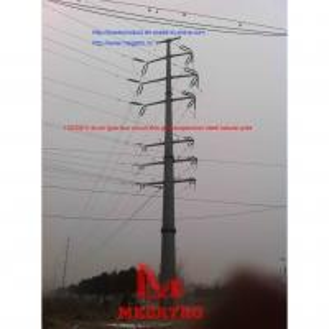 China 11035KV drum type four circuit thin wall suspension steel tubular pole on sale
