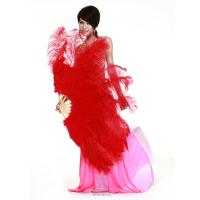 China Large Rose Red Belly Dance Fans With Red Ostrich Feather For Ladies on sale