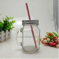 Best 16oz Glass Mason Jar With Handle and Metal Lid in Straws wholesale