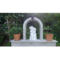 Quality Outdoor park stone white fountain,white marble garden carving water fountain ,China stone carving Sculpture supplier for sale