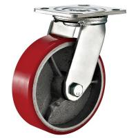 Quality Red Heavy Duty Swivel Plate Caster Wheel / 6 Inch Caster Wheels Polyurethane On Iron for sale