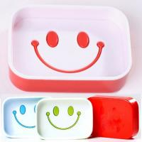 China Novelty soap holders smile face shape PP material plastic bathroom soap dish on sale
