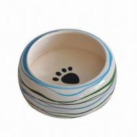 Buy cheap Porcelain/Ceramic Pet Feeder Bowl with Footprint, OEM Orders are Welcome from wholesalers