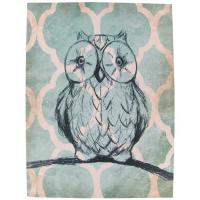 "China Teal Cream And Black Owl Handmade Canvas Paintings 12""x16"" With One Wooden Shelf on sale"