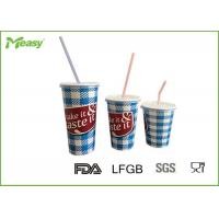 Quality Eco friendly Cold Paper Cups With Plastic Straw And Lid , Large Medium Small Size for sale