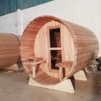 Quality 1800*2400MM 7 x 7 eletric Wood Fired Barrel Sauna Knotless Red cedar for sale