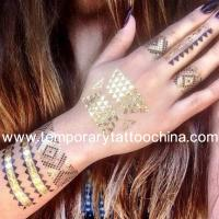 Quality 2015 new design wholesale flash custom gold and silver temporary metallic tattoo for sale