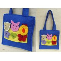 Quality Recyclded Eco-friendly Blue Handmade Felt Bags With Animal Decorations for sale