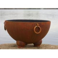 Outdoor Ancient Design Rusted Steel Fire Pit , Copper Fire Pit Bowl For Yard