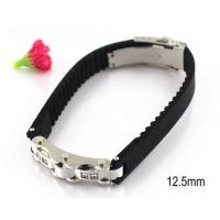 Best 12.5mm Watch Belt Stainless Steel Bangle Bracelets Matching Black Rubber wholesale