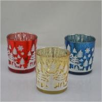Quality christmas glass candle holder glass candle jars containers for sale