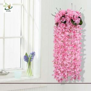 China UVG High Quality Artificial Wisteria Flowers Wedding Shelf Hanging Flower Arrangement on sale