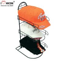 Quality Merchandising Baseball Caps Table Top Display Stands 3 - Layer Metal Material for sale
