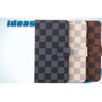 Quality Samsung Galaxy Cell Phone Leather Cases Plaid PU NOTE4 with shockproof for sale